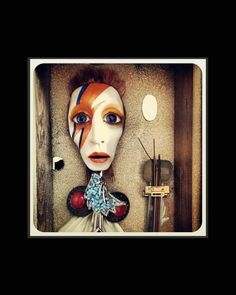 Print of an original mixed media David Bowie inspired doll by Vinsantos. ZIGGY by KreetureNewOrleans