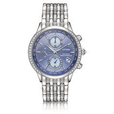 CITIZEN Ladies World Time A-T Blue Dial & Diamond Bezel Bracelet Watch