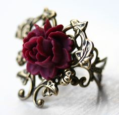 Victorian Blooming Red Rose Ring in Antique by robinhoodcouture, $32.00