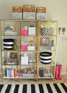 Home- Entryway - gold shelves, black & white, baskets, stripes in entryway