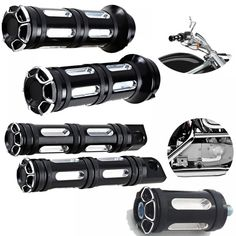 Completed Set: Motorcycle Handlebar Hand Grips + Foot Pegs Compatible with Harley Davidson (Black CNC Edge Cut Style) Rubber Bands, Motorcycle Accessories, Cut And Style, Aluminium Alloy, Harley Davidson, Helmets, Stuff To Buy, Custom Design, Accessories