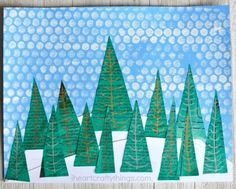 This newspaper winter landscape art project makes a great winter craft, winter art project, kids winter craft and preschool craft. Winter Art Projects, Winter Crafts For Kids, Winter Kids, Art For Kids, Landscape Art, Landscape Paintings, Land Art, Finger Painting For Kids, Winter