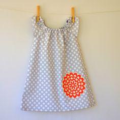 Modern Girls Peasant Dress . Tunic . Grey Dot . Wallflower Applique. $32.00, via Etsy.