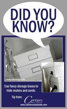 Do you have loose wires or annoying cords hanging out from devices? Hide them in a fancy storage box! Perfect for home staging! Hide Tv Wires, Hide Router, Hidden Tv, Home Staging, Storage Boxes, Cords, Hanging Out, Home Remodeling, Decor Ideas