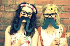 moustaches on sticks & crazy glasses- party perfect - For a photo booth?