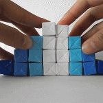Watch the short video. DIY Kinetic Origami Sculpture Designed by Jo Nakashima in just 45 steps! Paper Cube, Paper Art, Duct Tape Projects, Origami Artist, Diy Design, Interior Design, Origami Boxes, Cool Paper Crafts, Mockup