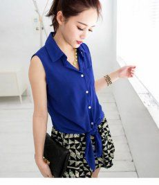 J71132 Fluorescence color Lace up Chiffon Shirt $7.00