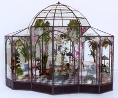 """Lady Jane's Room Boxes Lady Jane produces museum quality objects d'art in the form of glass display cases, miniature greenhouses, and miniature conservatories. She uses the """"Tiffany"""" method of foil and solder. Read more about visiting her studio. -- Susan"""