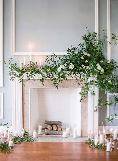 Searching for an elegant Renaissance-inspired wedding style? Pair lush garlands and sprays with candles, clear glass, wood logs and a grand fireplace.   http://www.lightsforalloccasions.com/p-6714-natural-birch-log-decorative-fireplace-wood-rustic-18-inches.aspx