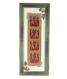 This beautiful piece of vertical wall decor has been crafted in dhokra art. It is framed in sheesham wood giving it a complete ethnic look. This decor will definitely accentuate the beauty of your walls