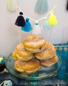 DIY Donut Tower with Tassel Cake Topper by The Neon Tea Party // Throw your own POM-ukkah party! Enjoy four festive pom pom Hanukkah decoration ideas with DIY instructions! Hanukkah Diy, Feliz Hanukkah, Hanukkah Decorations, Christmas Hanukkah, Happy Hanukkah, Neon Crafts, Kid Crafts, Backyard For Kids, Backyard Games
