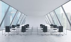 Workplaces In A Bright Modern Open Space Loft Office White Tables And Black Chairs Singapore Panoramic View The Windows R Royalty Free Stock Photo