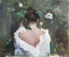 "Saatchi Art Artist Cayetano de Arquer Buigas; Painting, ""Nape and White rosebush"" #art"