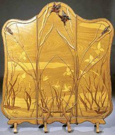 Emile gallé - Paravent 'Iris' - Acajou MarquetéEmile Gallé [French Art Nouveau Glassmaker, 1846-1904]More Pins Like This At FOSTERGINGER @ Pinterest