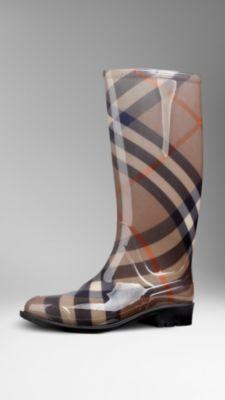 Smoked Check Rain Boots