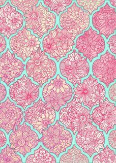 Pink blue flower paisley