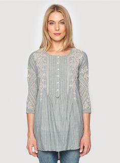 Dion+Pintuck+Tunic+The+3J+Workshop+DION+PINTUCK+TUNIC+features+a+detailed+tonal+embroidery+design+along+the+front,+back+placket,+and+¾+length+sleeves.+This+tunic+top+is+designed+to+pair+perfectly+with+your+favorite+jeans!  -+Striped+Cotton -+Scoop+Neckline,+Six+Button+Henley+Front,+¾+Length+Sleeves -+Signature+Embroidery -+Care+Instructions:+Machine+Wash+Cold,+Hang+Dry