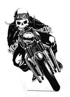 skeleton on cafe racer motorcycle Motorcycle Tattoos, Motorcycle Posters, Motorcycle Art, Bike Art, Biker Tattoos, Motorcycle Wheels, Racing Moto, Cafe Racing, Moto Logo