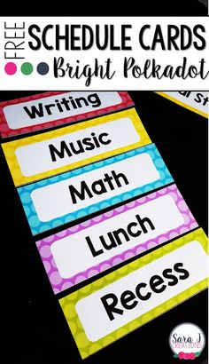 Schedule Cards Freebie   Are you thinking about setting up your classroom for the fall? Thinking of themes and colors you want to use? Let me get you started with these free schedule cards. Now you can quickly add your daily schedule to your board to help your students stay organized and on track. Click the picture or click HERE to grab yours.  3-5 classroom decor elementary PreK-2 Sara J Sara J Creations schedule cards