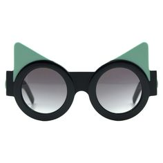 Fakoshima x Ria Keburia - Black & Mint Sunglasses  - Sunglasses (5 705 UAH) ❤ liked on Polyvore featuring accessories, eyewear, sunglasses, fakoshima x ria keburia, moreislove, black glasses, black eyewear, round frame sunglasses, black lens sunglasses and black sunglasses