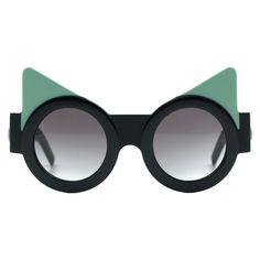 Fakoshima x Ria Keburia - Black & Mint Sunglasses  - Sunglasses (5 705 UAH) ❤ liked on Polyvore featuring accessories, eyewear, sunglasses, fakoshima x ria keburia, moreislove, black glasses, black eyewear, round frame sunglasses, black lens sunglasses and black sunglasses
