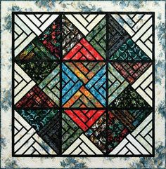"""Fractured Paint Box, by Quiltworx.com, using the City Lights Collection of Tonga Batiks! Collection selected by Judy Niemeyer. This quilt uses (1) package of City Lights 2-1/2"""" Tonga Treats and the Java Blender, Noir. It also requires additional yardage for the border, backing, and binding!"""