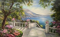 Maher Art Gallery: The artist Anca Bulgaru Watercolor Art Lessons, Lake Painting, Italy Art, Scenery Wallpaper, Am Meer, Beach Art, Beautiful Paintings, Art Pictures, Flower Art