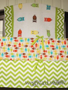 Owl Crib Bedding Set bumper, skirt, quilt applique neutral. via Etsy.