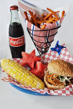 Love the watermelons and the fries idea. Pulled Pork with colesaw, corn on the cob, real Coke fourth 4th of July food idea to celebrate independence picnic