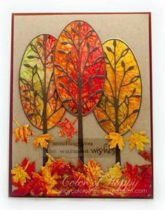 Autumn Trees by Shelby Thomas - using Memory Box Vercelli Tree dies and Marvelous Maple Leaves die