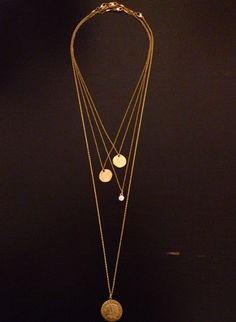 Simple Layered Gold Necklace, I want that indian head!
