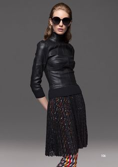 Talbot Runhof #prefall14 | Sleek black leather top with 3/4 sleeves