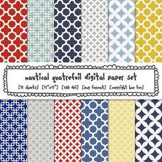 quatrefoil digital paper, nautical colors navy blue red yellow gray trellis patterns, preppy photography backgrounds, instant download 532