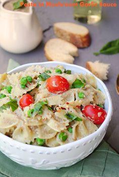 Pasta in Roasted Mushroom Garlic sauce with Green Peas