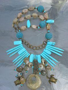 turquoise howlite, fossil, shells,lava beads, jasper
