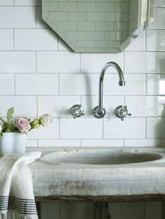 honey-kennedy-byron-view-farm-01...great sink with wallmounted faucet and white tile, elongated octagonal mirror!