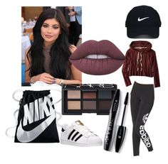 """sporty outfit"" by anoo17k ❤ liked on Polyvore featuring American Eagle Outfitters, adidas Originals, Nike Golf, adidas, NIKE, Lime Crime, NARS Cosmetics and Lancôme"