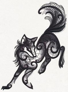 Lace fox tattoo
