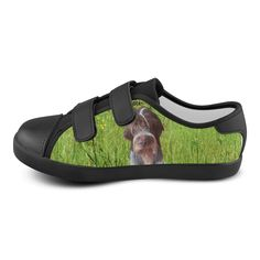 Dog and Flowers Velcro Canvas Kid's Shoes. FREE Shipping. #artsadd #sneakers #dogs