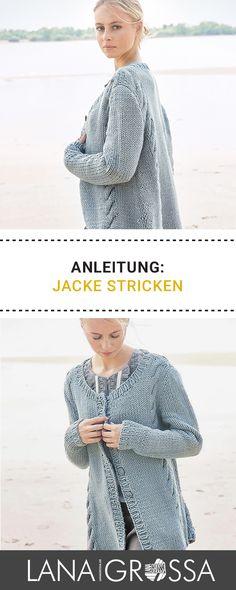 Kostenlose Strickanleitung für eine lange Jacke in schickem Strickmuster / free knit pattern for long jumper via lanagrossa.de