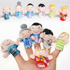 Cute Cartoon Family Finger Puppets Plush Dolls For Baby Girls&Boys Children Kids Toys