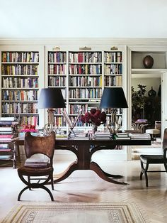 Home library: I've always loved a library table and this one is no exception.  #home #library. Brockschmidt & Coleman | Elle Decor