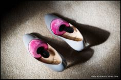 Brides Christian Louboutin shoes before her wedding at Denton Hall in Yorkshire by Wedding Photographer Paul Rogers