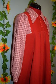 cute vintage 60s 70s Jonathan D red pinafore dress by jampops