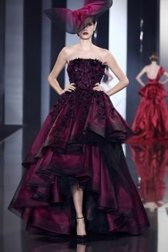 Magenta and black organza and tulle tiered ballgown with perspex and velvet embellishment. | Ralph & Russo A/W 2014