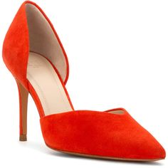 Marc Fisher Ltd. Women's Tammy Pumps Shoes (385487501) ($119) ❤ liked on Polyvore featuring shoes, pumps, orange, leather shoes, orange shoes, real leather shoes, orange leather pumps and leather footwear