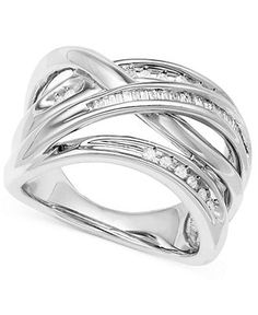 Diamond Ring, Sterling Silver Diamond Crisscross Ring (1/4 ct. t.w.) - Rings - Jewelry & Watches - Macy's