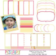 Digital Frames and Tags in Pastel Colors