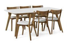 Retro matbord i lättskött lackerad massiv/fanerad ek. Bordet förlängs enkelt med iläggsskivan á 50 cm som ingår. Inkl. Holger stol i konstläder. Komplettera gärna din matgrupp med möbler i samma serie.