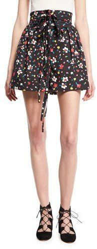 Marc Jacobs High-Waist Painted Flower Shorts, Black